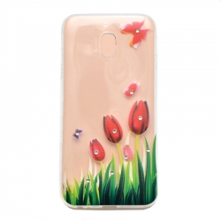 Чехол-накладка Samsung Galaxy J5 2017 J530F Lucent Diamond Tulips Red