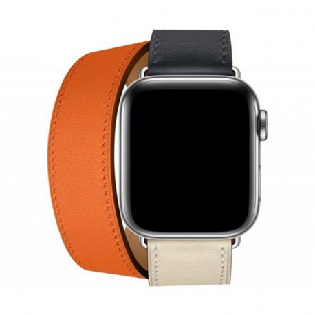 Ремінець для Apple Watch Hermes Leather 38 mm/40 mm (orange/stone)